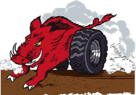 Wild Racing Hog Vector