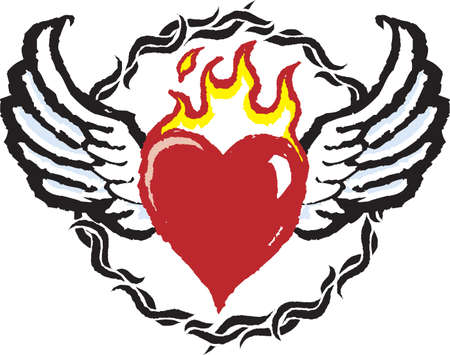 red love heart with flames: Fiery Heart