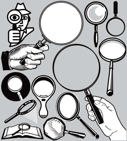 Magnifying Glass Collection Stock Vector - 17271975