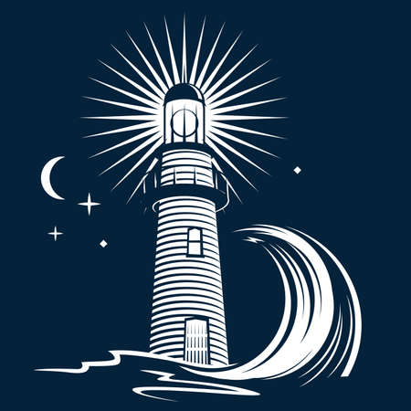 lighthouse at night: Faro y Wave