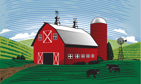 Barn Scene Stock Vector - 17443032