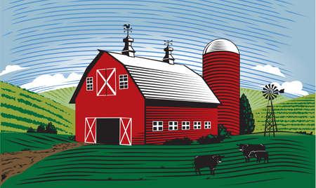 windmolen: Schuur Scene Stock Illustratie