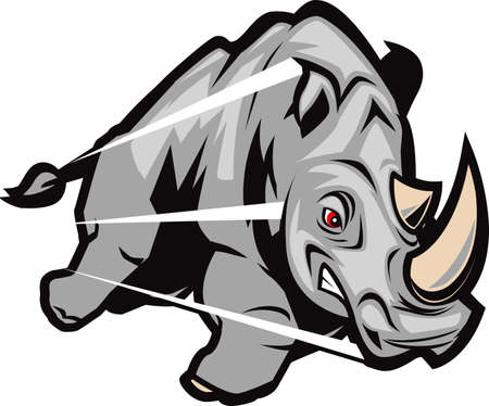 Charging Rhino Illustration