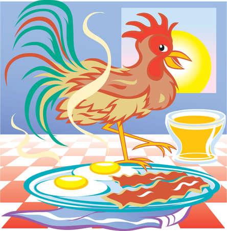 rooster and morning sun: Farm Fresh Breakfast Illustration
