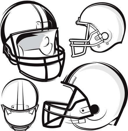 Football Helmet Set Stock Vector - 17443021