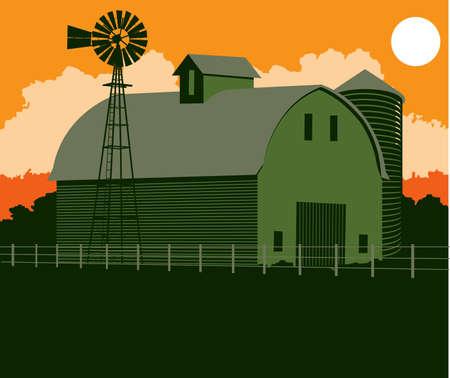 Green Barn Stock Vector - 17442973