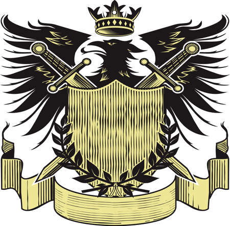 eagle shield and laurel wreath: Kings Blackbird Crest Illustration