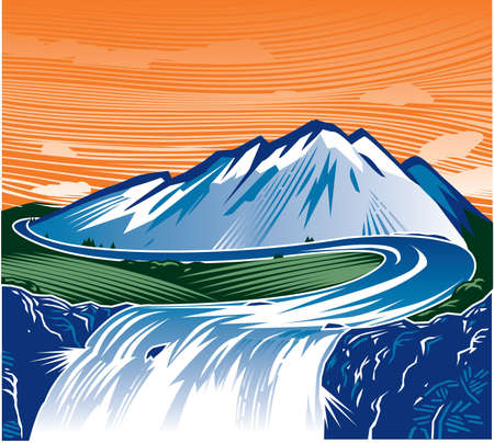 waterfall river: Mountain Waterfall Illustration