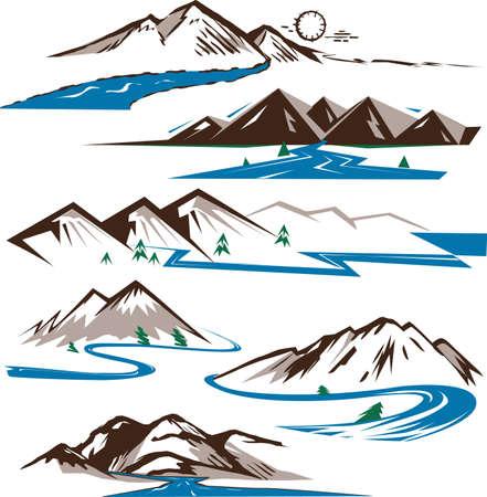 Bergen en Rivieren Vector Illustratie