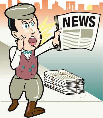 vintage newspaper: Retro Newsboy