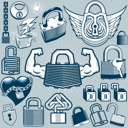 Padlock Collection Stock Vector - 17443011