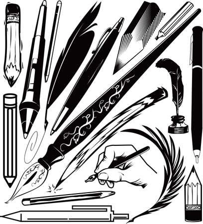 ペンおよび鉛筆コレクション  イラスト・ベクター素材
