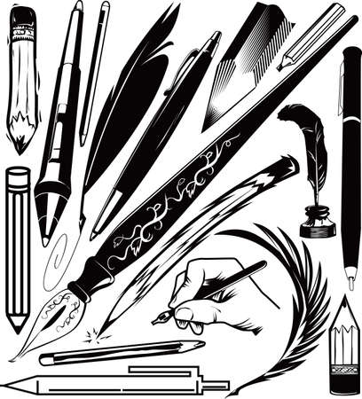 stylus pen: Pens and Pencil Collection Illustration