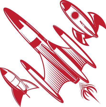 レトロな赤いロケット  イラスト・ベクター素材