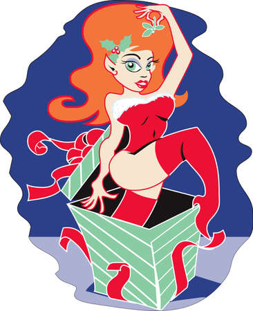 redhead lingerie: Santa Elf Surprise
