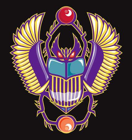 scarab: Colorful Scarab Illustration