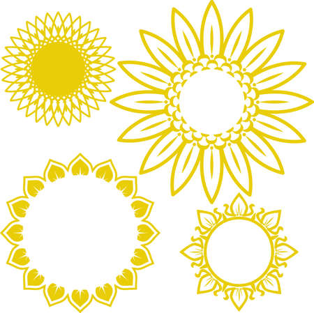 Sunflower Icons Illustration