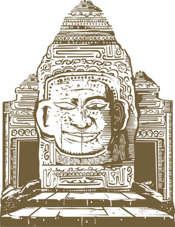 old ruin: Temple Ruins Illustration