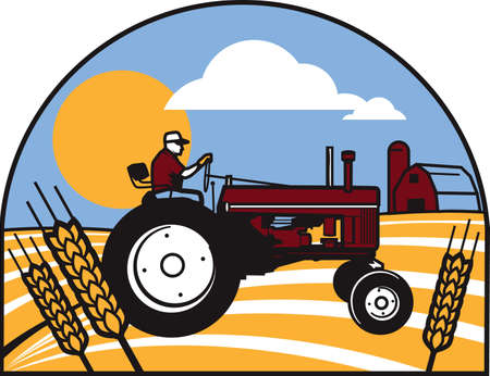 Wheat Tractor Stock Vector - 17443033