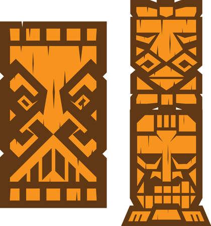 ブロック ティキ ・ トーテム  イラスト・ベクター素材