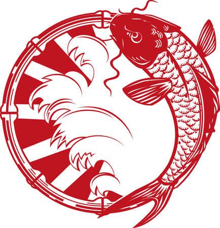 koi carp: Koi Emblem Illustration