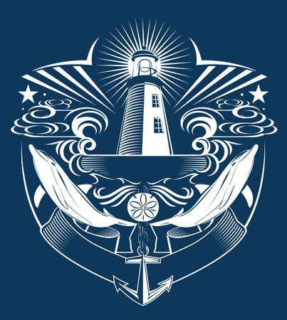 sand dollar: Lighthouse Crest Illustration