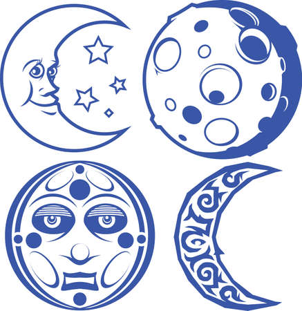 star and crescent: Blue Moons