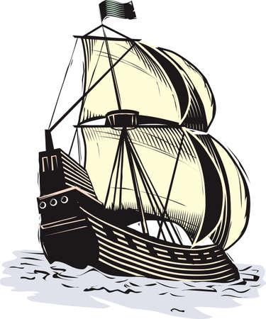 Old World Ship Illustration