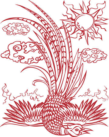 pheasant: Pheasant Fall Red