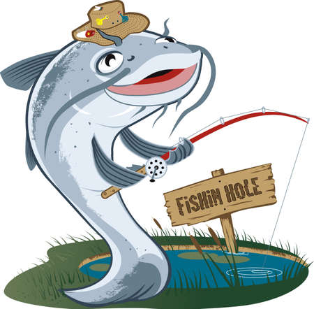 cartoon fishing: Catfish Fisherman