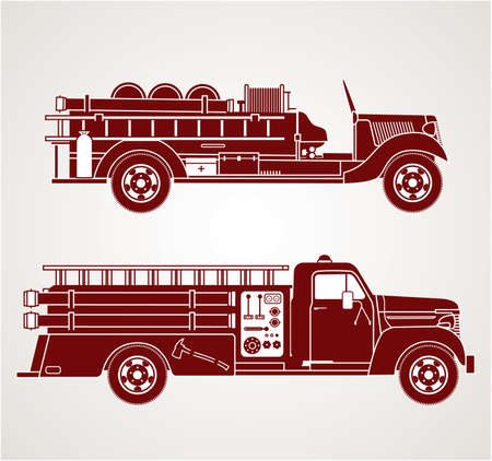 fire truck: Vintage Fire Trucks Illustration