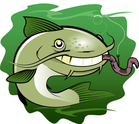Catfish and Worm Stock Vector - 20010235