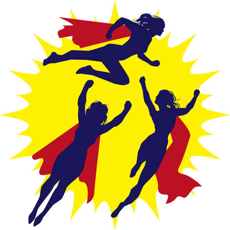 Super Heroine Silhouettes Vector