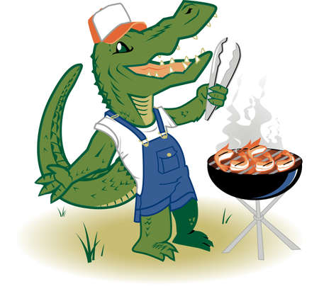Country Grilling Gator Vector