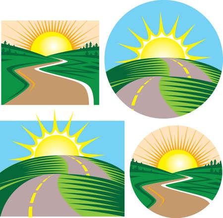 道路と夕日