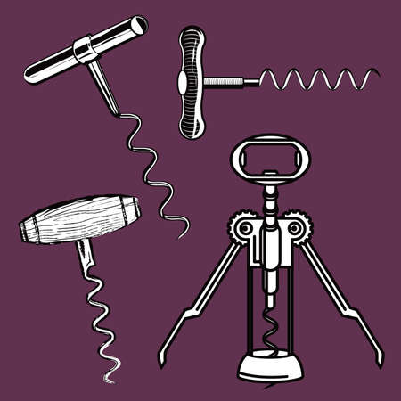 Clip art set of four corkscrews