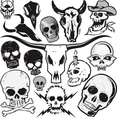 Clip art collectie van verschillende soorten schedels Stock Illustratie