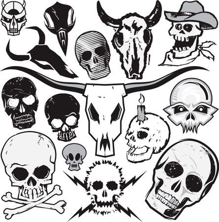 electrocute: Clip art collection of various types of skulls