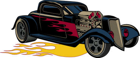 Fiery Custom Street Rod Vector