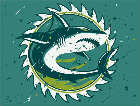 Shark Hunter Emblem Standard-Bild - 24898986