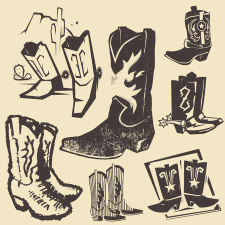 Cowboy Boot Collection Stock Illustratie