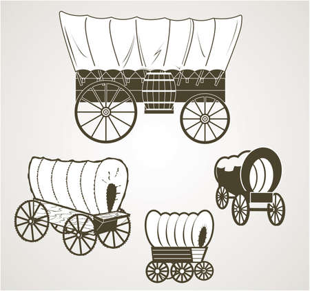 Covered Wagons Vector