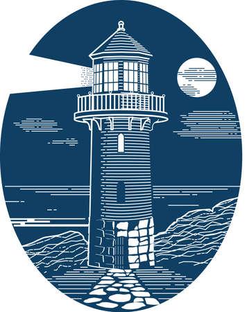 Lighthouse in Oval Çizim