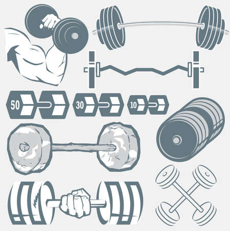 hand with dumbbell: Barbell Collection Illustration
