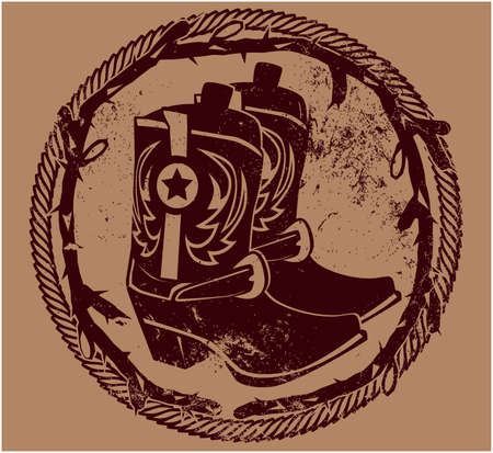 country western: Western Insignia boots Illustration