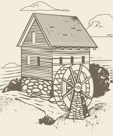Rustic Old Mill Vector