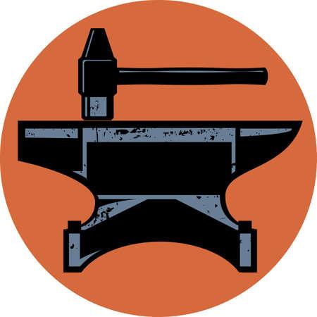 A hammer and anvil iconic design emblem Ilustração