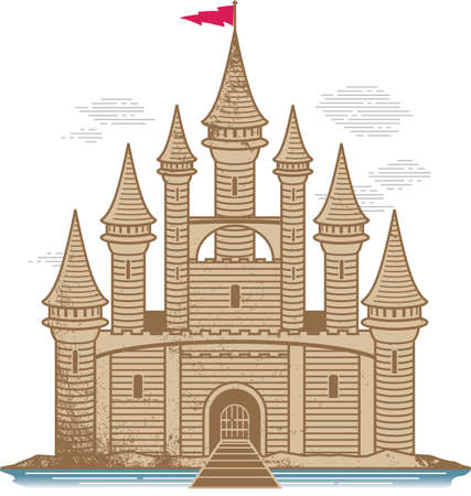 castle sand: Castillo de arena  Vectores