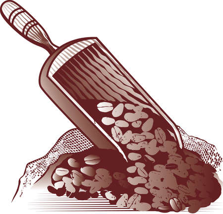 burlap bag: A wooden scoop stuck in a pile of coffee beans
