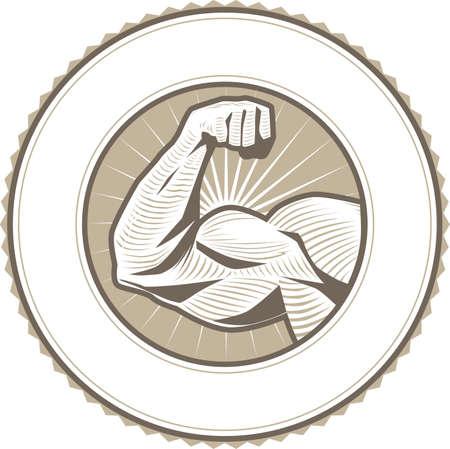 Muscle Flex Étiquette Banque d'images - 39849344